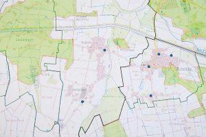 Karte zum Breitbandausbau im Kreis Minden-Lübbecke. Grüne Bereiche werden ausgebaut.